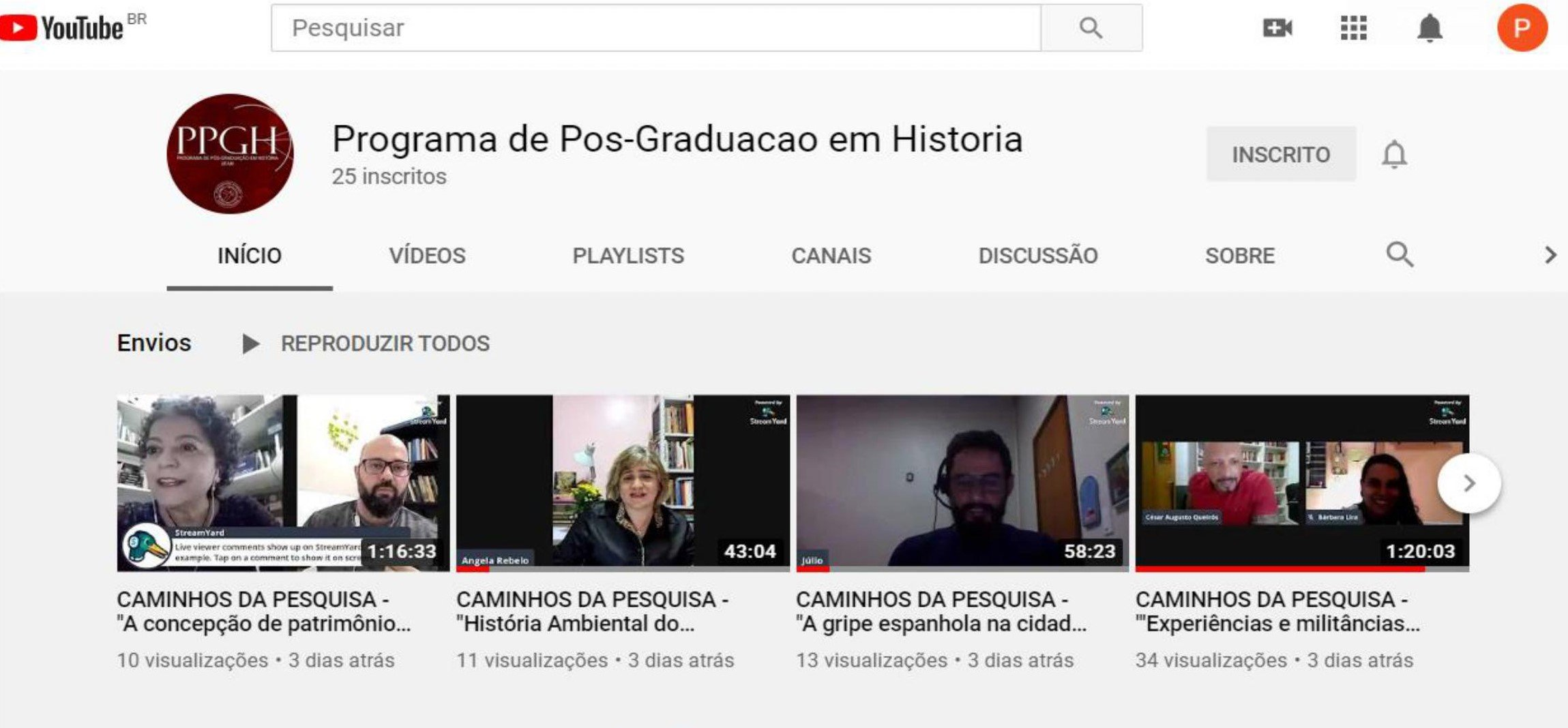 Canal do PPGH-UFAM no YouTube